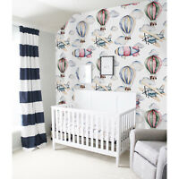 Non-Woven wallpaper traditional Dreamy Watercolor Balloons Nursery Kids Mural