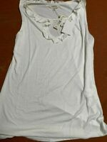 Max Studio Tank Top Blouse Shirt Size Medium Sleeveless White Ivory Linen NWT