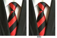 Red and Black Tie Stripe Patterned Handmade 100% Silk Wedding Necktie 8cm Width