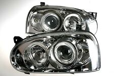 Headlight Front Lamps Chromed LEFT+RIGHT Fits VW Golf Mk3 1992-1997