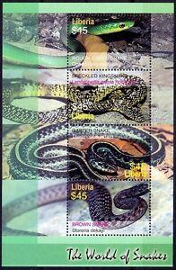Rough Green Speckled King Snake Garter, Snakes, Reptiles, Liberia 2006 MNH SS