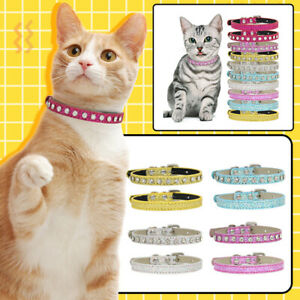 Bling Rhinestone Dog Collar PU Leather Crystal Pet Collars for Chihuahua XS-M