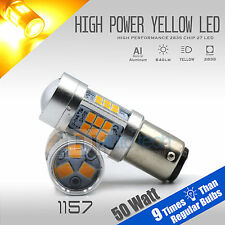 2X 850 LM 1157 50W High Power LED Yellow Amber Front Turn Signal Lights Bulbs