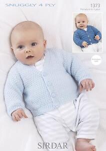 Sirdar 1373 Knitting Pattern Baby Cardigans in Sirdar Snuggly 4 Ply