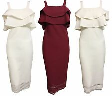 1s Women Ladies Bardot Off Shoulder Strappy Laser Cut Bodycon Evening Dress 8-14