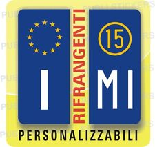 2 ADESIVI TARGA EUROPEA, AUTO, CAMION CON ANNO E PROVINCIA, STEMMA, TUNING
