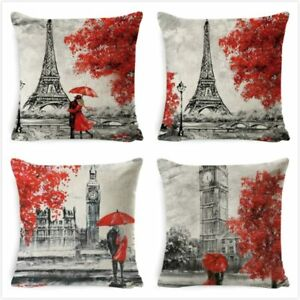 France Tower Big Ben Cushion Covers Lover Throw Pillow Cover for Home Bedroom