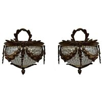 Pair French Empire Wall Sconces Crystal Chains Bronze Lights Clear Beads