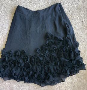 Womens Talbots Knee-length Skirt Ruffled Black Zip Up 4p  Unique Rosettes Silk