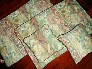 JC PENNEY MUSTIQUE GREEN PINK PAISLEY TUSCAN (4P) KING PILLOW SHAMS & PILLOWS
