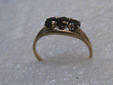 Vintage 10kt Garnet Ring, Sz. 7.75, Three Stones, Signed, 1.86 grams