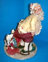 "Santa Figurine ""F"" Flambr China Mark Dalmatian Tugs at Santa's Pants (ACS)"
