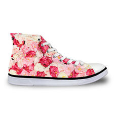 Women Ladies Floral High Top Canvas Shoes Fashion Sports Shoes Comfy Sneakers