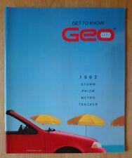 GEO Range 1992 USA Market prestige sales brochure - Storm Prizm Tracker Metro