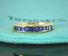 Tiffany & Co Japan 18K Yellow Gold 4mm Square Step Sapphire Wedding Band Ring 7