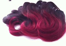 "Brazilian Remy Human Hair 1B-Burgundy 8"" Short Hairstyles & Bangs 100+G (4 Pcs)"