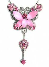 w Swarovski Crystal Bridal Wedding Rose Pink BUTTERFLY Pendant Chain Necklace