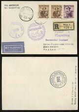 AUSTRIA MEXICO REGISTERED POSTCARD FIRST FLIGHT KLM SCHIPOL 1952