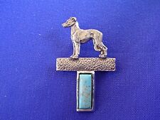 Italian Greyhound Whippet on Turquoise Pin #12F dog jewelry by Cindy A. Conter