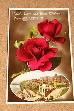 Vintage Postcard: Greetings, Best Wishes From Blackpool, North Shore, Red Roses