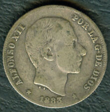 1883 Spanish Philippine ALFONSO XII 20 Centimos De Peso Silver Coin