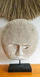 Whitewash Papua primitive topeng mask wood display on stand carved