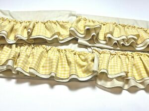 Vintage Set 4 Custom Hand Made Window Curtains Drapes Yellow Gingham Ruffle Trim