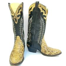 Cowtown Western Custom Boots Extra Fancy Exotic Python Snake Men 8.5D Blk Ivory