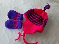 Baby Girl/Toddler Pink Handcrafted Knitted Hat and Mitten Set Homemade 6 - 12 m