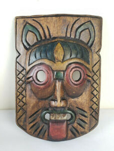 """Vintage Carved Painted Wooden Asian / African Tribal Demon Mask Wall Decor 10.5"""""""