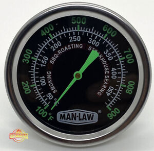 MAN LAW MAN-T702BBQ BBQ Series Grill and Smoker Thermometer - Glow in the Dark