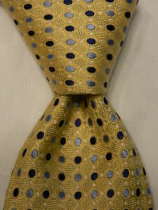 HOLLAND & SHERRY Men's 100% Silk Necktie Designer POLKA DOT Yellow/Blue EUC
