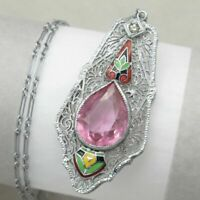 Vtg Art Deco Rhodium Plate Silver Filigree Pink Glass Enamel Pendant Necklace