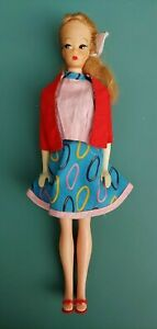 Vintage Mattel 1950 1960 Ponytail Barbie Doll Red Shoes Blue Dress Red Sweater