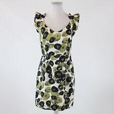 Ivory black green geometric silk ANTHROPOLOGIE LEIFSDOTTIR cap sleeve dress 10
