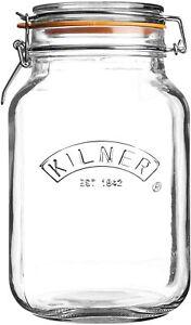 Kilner 25.513 Square Clip Top Jar 2ltr   Preservation Jar, Storage Jar, Jam Jar