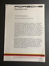 1984 Porsche 911 20th Anniversary Press Kit, Press Release, Pressemappe RARE
