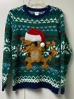 Children's Ugly Christmas 3-D embroidered Sweater Cat with sunglasses size 14-16