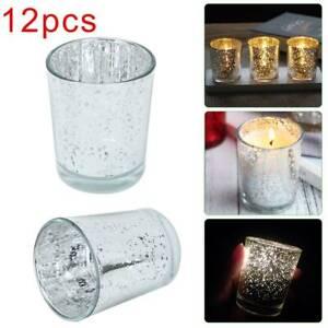 12Pcs Mercury Glass Tea Light Candle Holders Votive Home Wedding Decor Silver