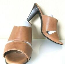 Sofft Leather Peep Toe Mule Heel Slide Sandal Brown Strappy Cutout 8 M VGUC