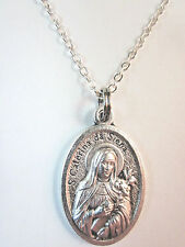 "St Catherine of Siena Medal Italy Necklace 20"" Chain Gift Box & Prayer Card"