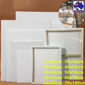 3pcs Artist White Blank Stretched Canvas Wood Frame Rect Paint Board Art SMUK673