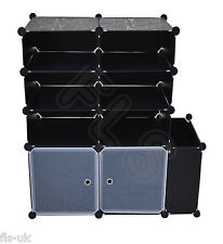 MODULAR 9 CUBE STORAGE SOLUTION ORGANISER / SHELVES / UNIT / FURNITURE - BLACK