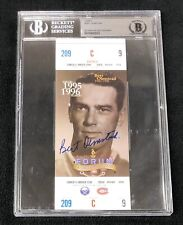 Bert Olmstead Signed Montreal Canadiens Forum 1996 Ticket Beckett Authenticated