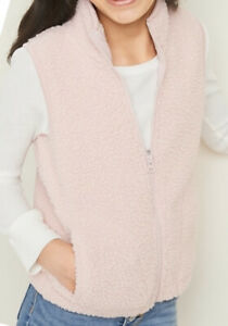 Old Navy Girl's Zip Sherpa Vest With Pockets Blush hue XXL Plus NWT $19.99