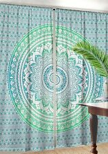 Window Curtain Indian Ombre Mandala Door Drape Handmade Green Curtain Tapestry