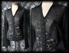 Gothic Black Sheer Lace Detail PENITENCE Fitted Blouse 12 14 Victorian Vintage