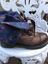 Doc Martens Aimilie Brown/floral 9hole Leather Boots Uk6/39 Excellent Condition