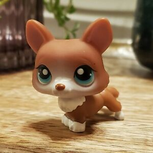 LPS Littlest Pet Shop Corgi #317 Dog Brown/White Blue Eyes