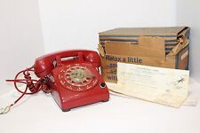 VINTAGE - RED - STROMBERG DESK TELEPHONE - INSTRUCTIONS INC - CORDS INC - ROTARY
